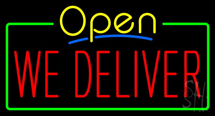 Open We Deliver Neon Sign 20 Tall x 37 Wide x 3 Deep, is 100% Handcrafted with Real Glass Tube Neon Sign. !!! Made in USA !!!  Colors on the sign are Yellow, Green, Blue and Red. Open We Deliver Neon Sign is high impact, eye catching, real glass tube neon sign. This characteristic glow can attract customers like nothing else, virtually burning your identity into the minds of potential and future customers.