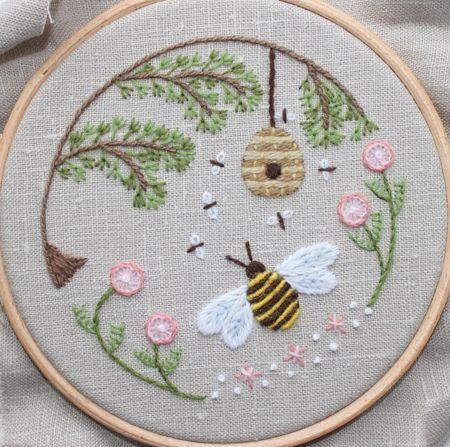 Bee's World Crewel Embroidery