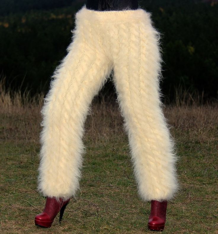 Ivory handmade pants handmade fuzzy mohair fuzzy trousers soft warm leggings #SuperTanya #Casual