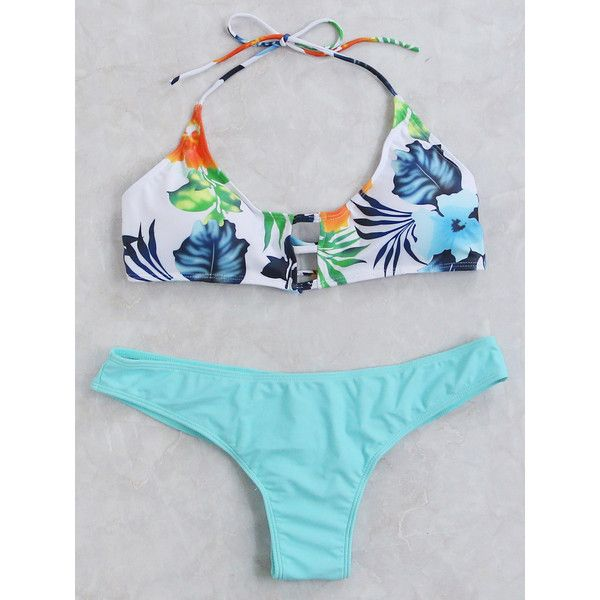 Floral Print Cutout Halter Bikini Set ($14) ❤ liked on Polyvore featuring swimwear, bikinis, blue, bikini two piece, cut out bikini, flower print bikini, halter-neck bikinis and halter bikini top