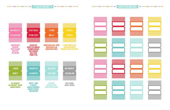 2014 Planner Tabs Printable PDF Planner Pages - instant download