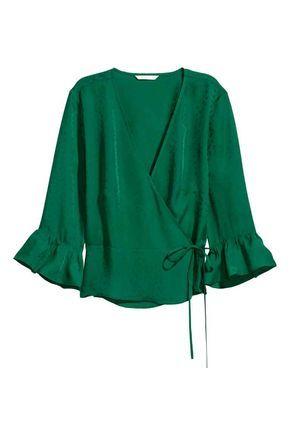 Blusa cruzada con estampado - Verde esmeralda/Hoja - MUJER | H&M ES