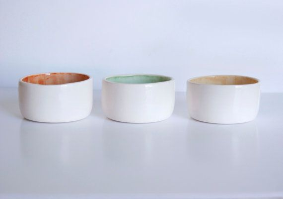 Ceramic bowl Set of 3 small ceramic bowls orange by viruset: Ceramic Bowls, Handmade Ceramic, Ceramics Bowls, Small Ceramics