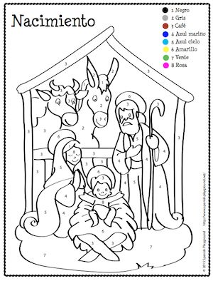 "Christmas Spanish color-by-number coloring pages to teach colors, numbers and Christmas vocabulary. Coloring sheets include traditional seven-pointed star piñata broken during posadas, and nacimiento, or nativity scene, also called ""un pesebre"" or ""un belén."" Post includes Spanish vocabulary for talking about the images and the traditional Spanish song sung while you try to break the piñata. #Spanish Christmas printables free  http://spanishplayground.net/spanish-christmas-color-by-number/"