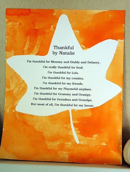 print a student's thankful poem/list, apply contact paper in the shape of the leaf on top, have them watercolor on top, and pull contact paper off when finished