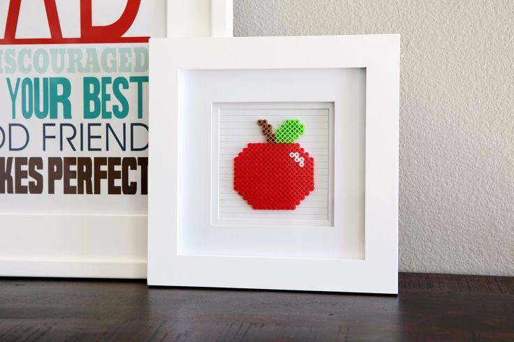 eighteen25: Framed Perler Bead Apple