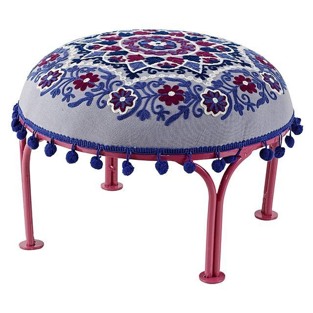 j.elliot HOME Marrakech Grey Embroidered Stool