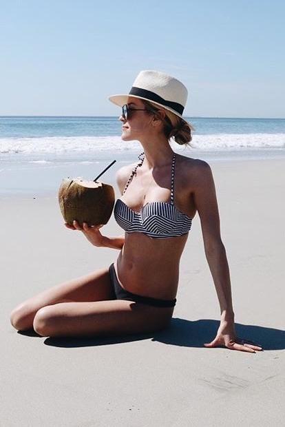 Kristin Cavallari wearing Rag & Bone Panama Hat in White, Prey x Swim Miaou Bustier and Prey Swim Miaou Bustier Bikini