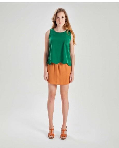 Scallop hem sleeveless blouse $45.50