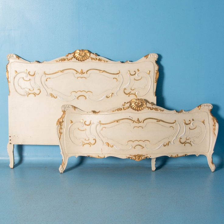 Vintage French Queen Size Bed Painted White.Carved circa 1900-1940 French bed with an off white paint and gold accents. A custom paint color can be applied and the bed rails can be made to accommodate a standard queen mattress length. Price: $2,685.00 Year/Circa: 1900-1940 Origin: France Dimensions: 61w x 46h Item #: 20052