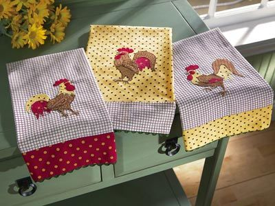 Rooster patchwork kitchen towels
