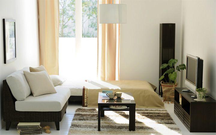 ナチュラル色をテーマカラーにした、太陽光が降り注ぐ開放感溢れる癒しの6畳ワンルームをコーディネート。それぞれの家具のサイズとお部屋の大きさを考慮すれば、セレクト次第で6畳でもベッド、ソファ、ローテーブル、テレビボードなど全てレイアウトできる開放的な空間を演出できます。コーディネート No.63:画像1