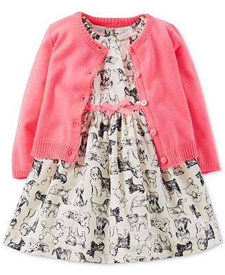 Carter's Baby Girls' 2-Piece Dog Print Dress & Cardigan Set