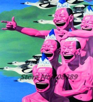Китай известный современный художник minjun юэ хип-хоп улыбающееся лицо холст современный декоративные абстрактное искусство walloil живопись 48
