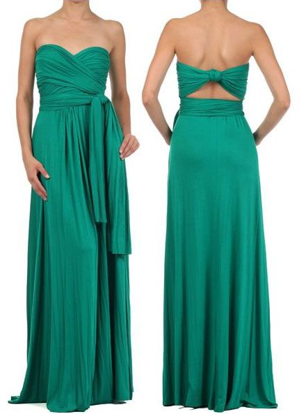 Beautiful Green Maxi Dress - this convertible maxi dress transforms easily into multiple styles: halter, sweetheart, one shoulder, kimono sleeve, cap sleeve, and many more.