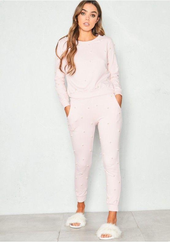 e2df564187 Anita Pink Pearl Embellished Loungewear Set