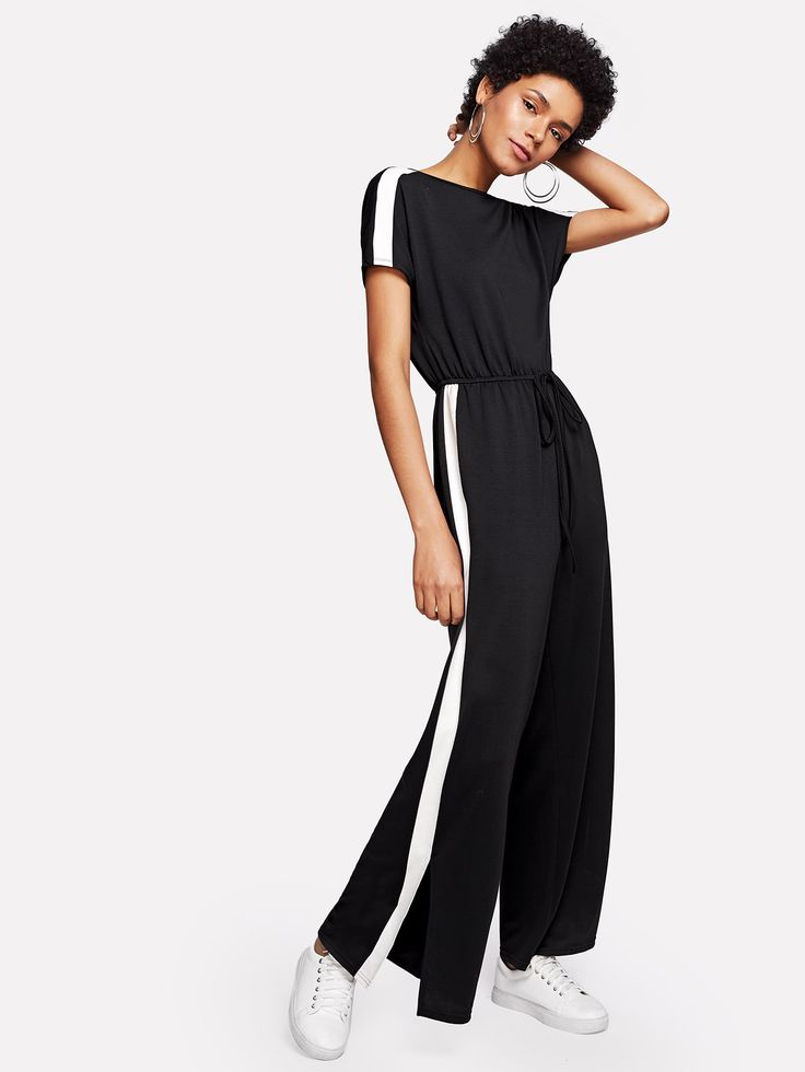 Shop Contrast Panel Side Drawstring Waist Jumpsuit online. SheIn offers Contrast Panel Side Drawstring Waist Jumpsuit & more to fit your fashionable needs.