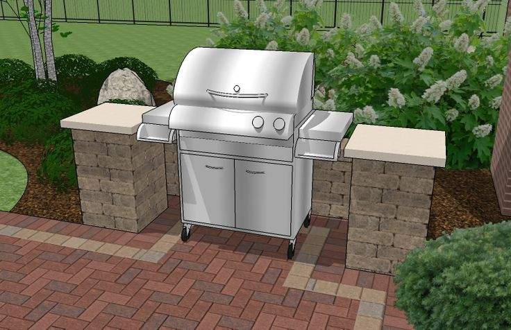 Backyard Brick Patio Design with 12 x 12 Pergola, Grill Station and Stone Fire Pit   Plan No. 1147rr   Download Installation Plan at MyPatioDesign.com