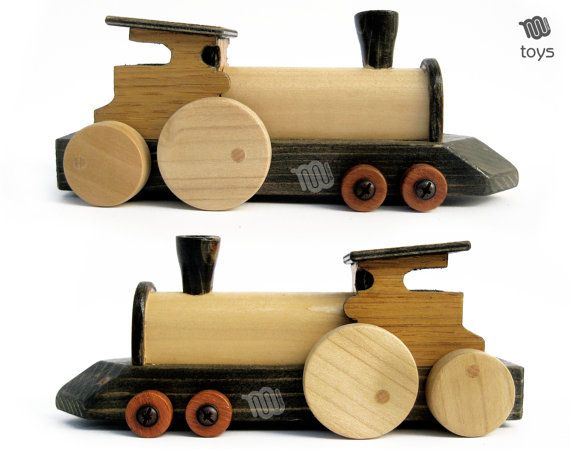 Noir Train Locomotive  jouet en bois naturel par WoodHandcraft