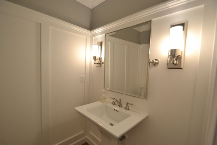 Wall treatment: Powder Room, Wall Color, Room Makeover, Crown Molding, Gray Wall, Gray Bathroom