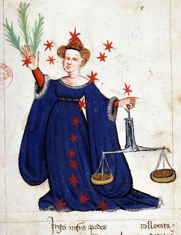 """""""La costellazione della Vergine"""", illustrazione tratta da 'Recueil d'astronomie et de mathématiques' (secondo quarto del XV secolo), Bibliothèque Municipale, Lione."""