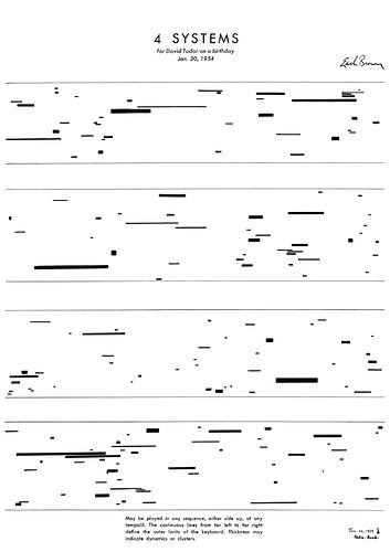 Experimental music notation resources - Earle Brown (4 Systems)