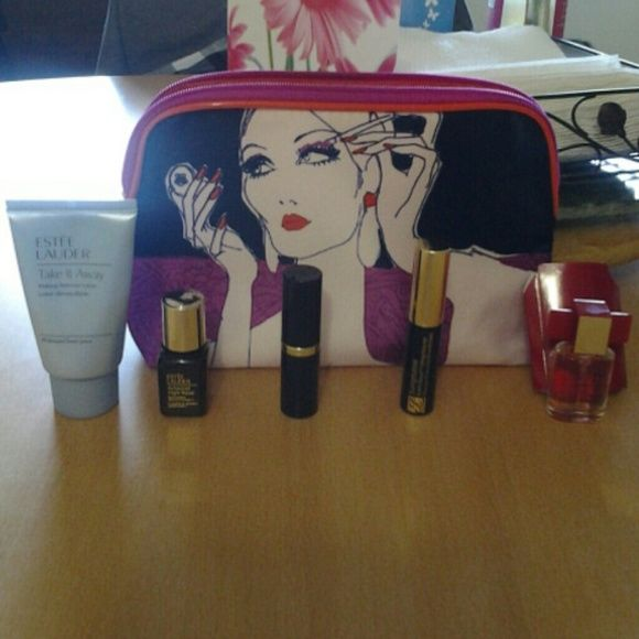 Sale! Estee Lauder 6Pc. NWT Gift Set Skincare: Take It Away Makeup Remover lotion All Skintypes. Advanced night repair synchronized recovery vol. II. Makeup: Pink Parfait Shimmer Long Lasting Lipstick.  Sumptuous bold volume lifting mascara 01 black. Fragrance: sample bottle of Modern Muse Le Rouge. Still in factory packaging. Make up bag still in factory packaging.  All products brand new. Fall back sale. Estee Lauder Makeup