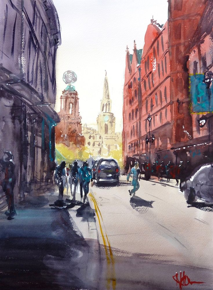 ARTFINDER: St Martin's Lane, London by Henry Jones - This sunny London scene was worked up from a smaller sketch I did in situ. It's one of my favourite London views, with Trafalgar Square, Soho and Covent gard...