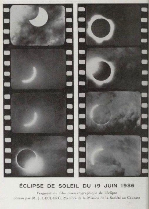 Solar eclipse of June 19, 1936. Film fragment.  L'Astronomie. Société astronomique de France. 1937.