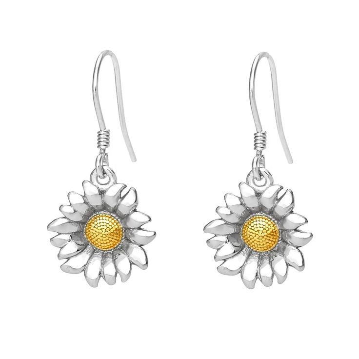 John Greed Wildwood Shining Sunflower Drop Earrings | John Greed Jewellery
