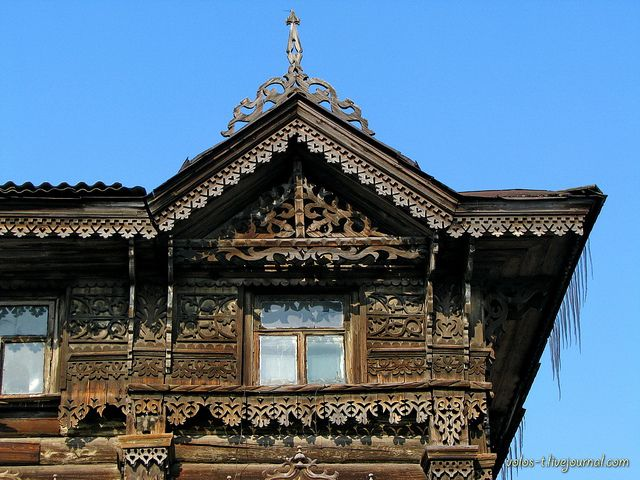 Detail of an old house in Tomsk.