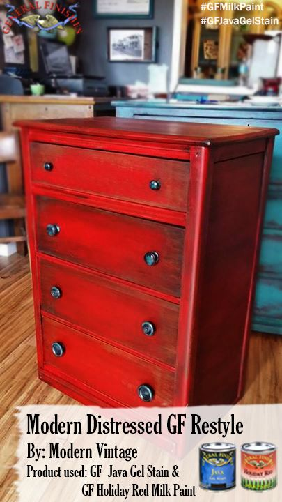 Modern Vintage, https://www.facebook.com/TRWModernVintage, used GF Java Gel Stain as a glaze over this Holiday Red Milk Painted dresser. Learn more about using Gel Stain as an antiquing glaze by watching GF's tutorial video, http://youtu.be/eXMyhOy2-yo  #generalfinishes #gfmilkpaint #javagel