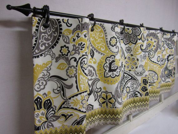 Kitchen Curtains. Window Valance. Window Curtains. Kitchen Valance. Grey,  Yellow,