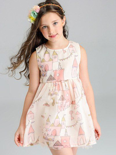 $14.18 A Line Scrawl Sleeveless Summer Dress