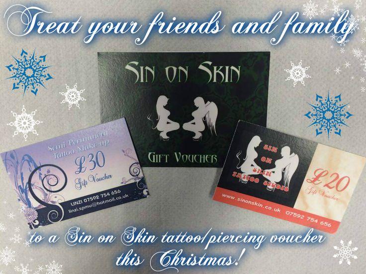 tattoo vouchers, piercing vouchers, Christmas vouchers, Christmas present ideas, gift ideas, semi permanent makeup