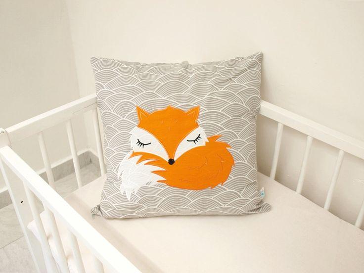 decorative pillow case, nursery pillow, nursery decor, fox cushion cover, woodland cushion, woodland animals, woodland nursery, home deco, by LoveColorsByJulianna on Etsy