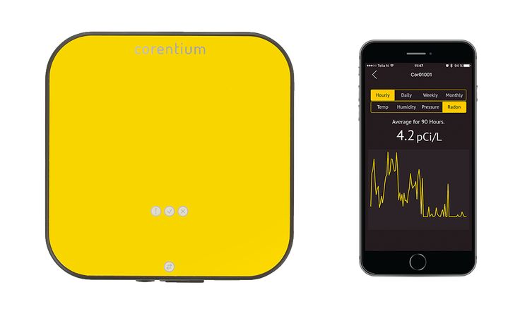 Corentium Pro - radon detector for professional radon inspection, together with an app