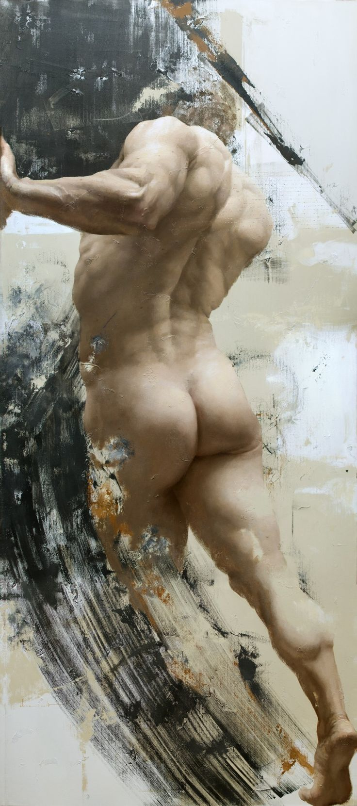 Shane Wolf Thrust  Oil on Canvas 39 x 88 inches