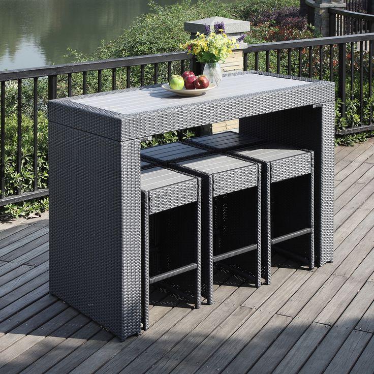 Handy Living Aldrich Grey 7 Piece Indoor/ Outdoor Resin Rattan Barstool/ Table  Set By Handy Living