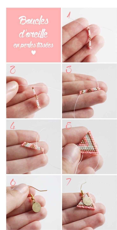 Boucles d oreilles en perles tissees technique brick stitch