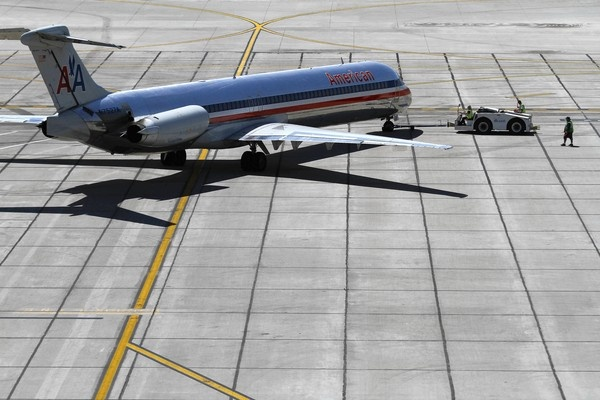 An American Airlines plane prepares for takeoff at Sky Harbor International Airport in Phoenix.
