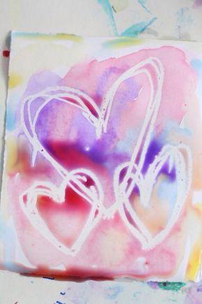 Wax resist heart painting