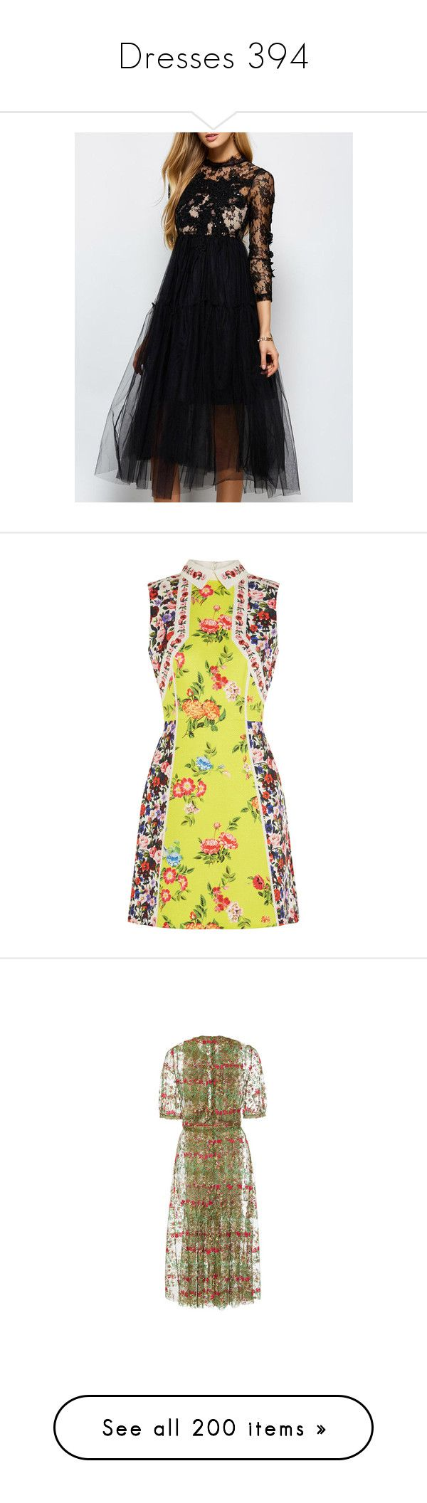 """Dresses 394"" by singlemom ❤ liked on Polyvore featuring dresses, sequin dress, sequin cocktail dresses, tulle cocktail dresses, sequin tulle dress, sequin embellished dress, vestidos, mary katrantzou, yellow and pattern dress"