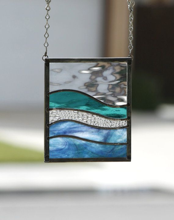 SEA DREAMS SUNCATCHER  Abstract Stained Glass by gallerydelsol