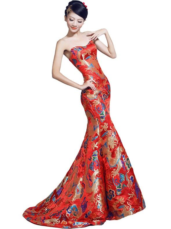 Simple Fishtail Cheongsam Qipao Chinese Wedding Dress with Dragon Pattern