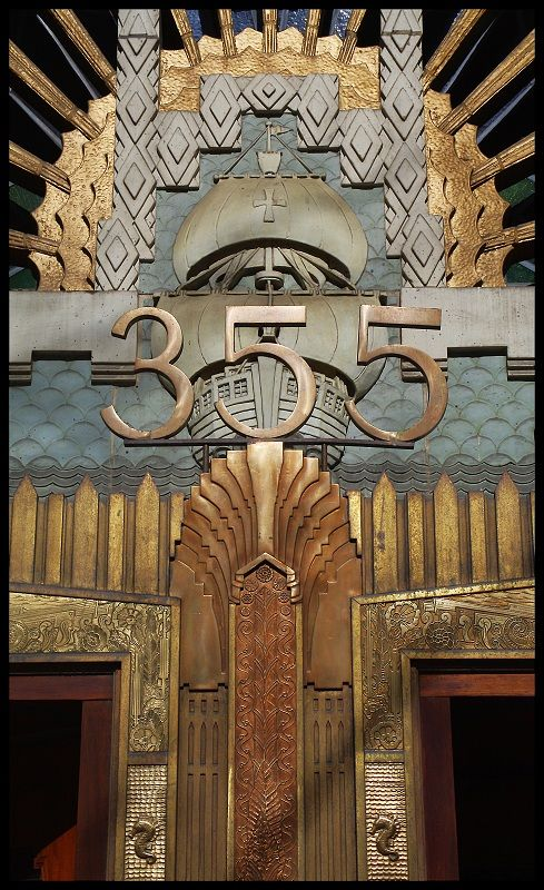 Amazing Art Deco Door, complete with a  sunburst, galleon and seahorses