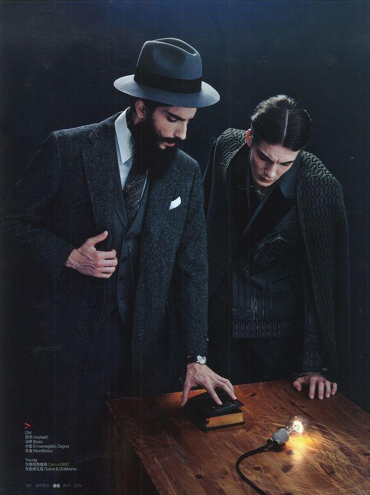 CERRUTI 1881 PARIS : Nylon Quadruple Coat (Right model)  BAZAAR MEN STYLE BUSINESS Asia September 2014