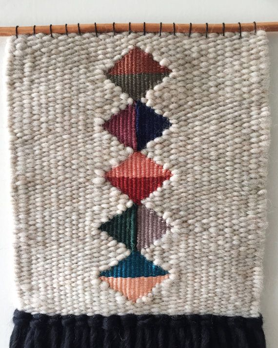 Hand Woven Wall Hanging / Textile Art Black Tan by 01JACKSON