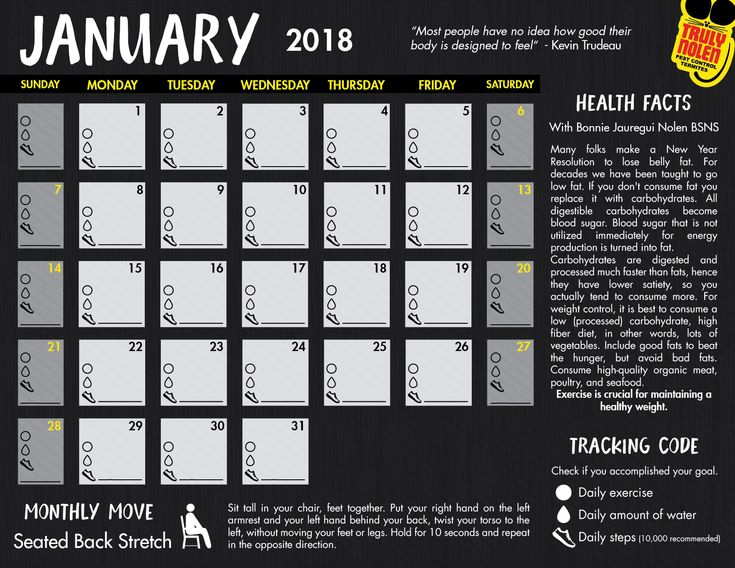 January 2018 Calendar: Random Facts and Tracking Code
