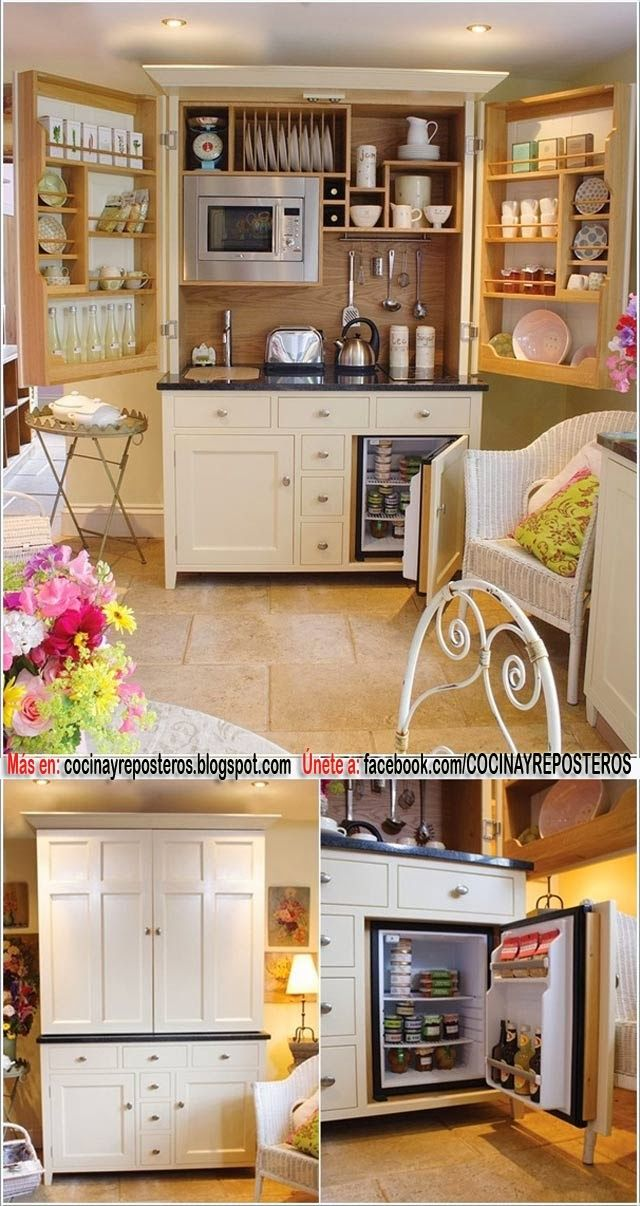 This is probably one of the coolest kitchen ideas we've ever seen. How to hide all of that kitchen counter clutter!